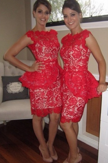 Red Lace Short Bridesmaid Dresses Bow Lace Satin Bridesmaid Dresses