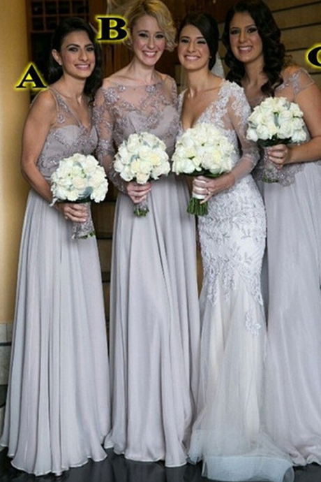 Gray bridesmaid dress ,chiffon bridesmaid dress ,long bridesmaid dress ,A-line bridesmaid dress ,Beautiful bridesmaid dress, bridesmaid dresses 2017, bridesmaid dress