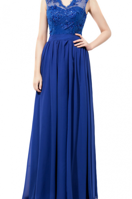 New Arrival V Neck Royal Blue Chiffon Bridesmaid Dresses With Lace Bodice,Custom bridesmaid dress, Wedding Party Dresses,Long Bridesmaid Dress,Bridesmaid Dresses,Bridal Gowns