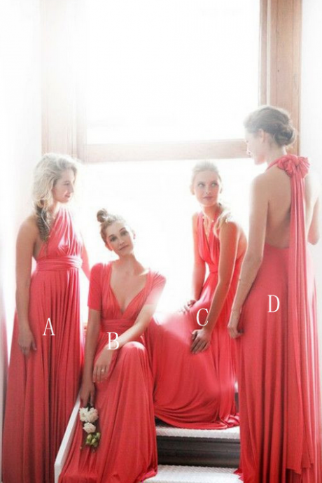 Different Coral Bridesmaid Dress Unique One Shoulder Long Chiffon Bridesmaids Dresses Gown For Maids