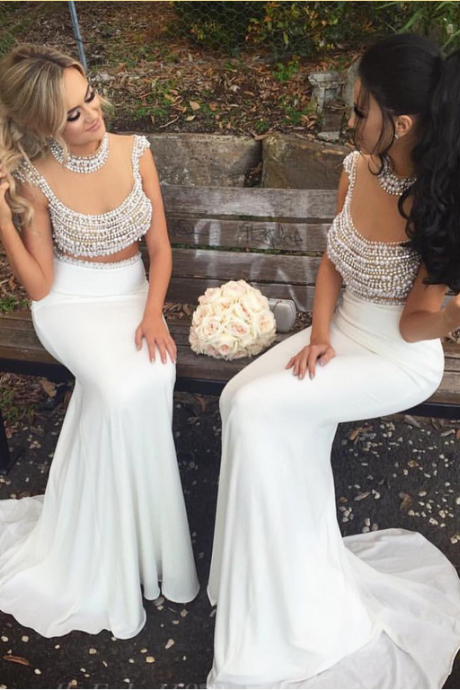 Sheer Back 2 Pieces Pearls Mermaid Bridesmaid Dresses Luxury