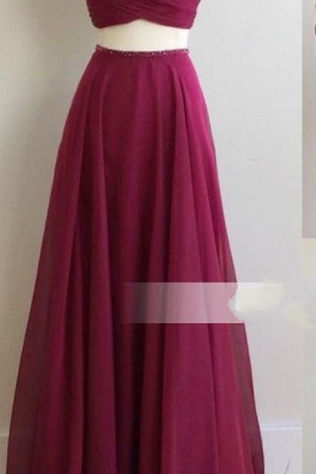 Chiffon Bridesmaid Dress, Fuchsia Bridesmaid Dress, Long Bridesmaid Dress, Cheap Bridesmaid Dress,