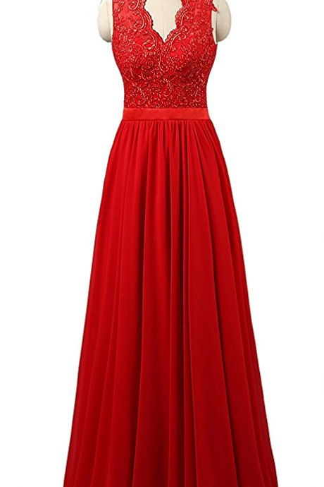 Stunning V Neck Red Chiffon Bridesmaid Dresses,Elegant Long Backless Formal Dresses, Wedding Party dresses