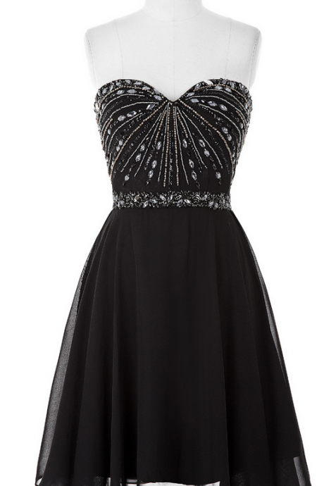 Beaded Embellished Black Chiffon Sweetheart Short A-Line Homecoming Dress Featuring Lace-Up Back
