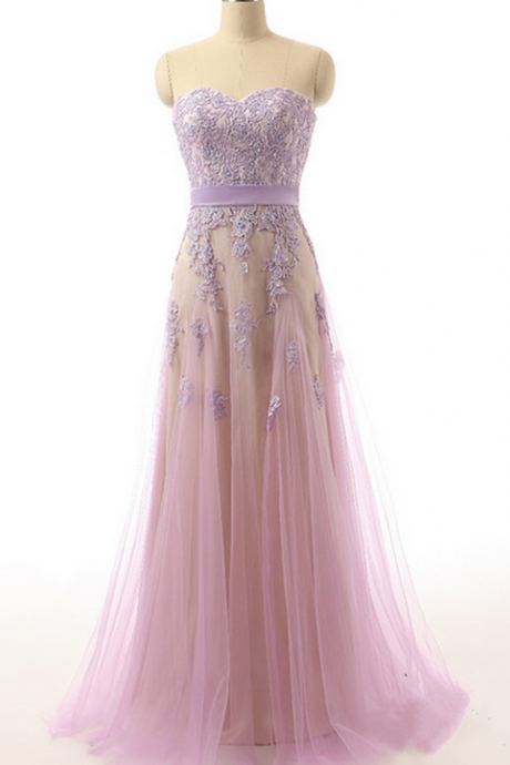 Bridesmaid Dresses, Elegant Sweetheart Appliques Long Prom Dresses Maxi Dresses