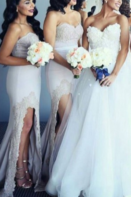Glamorous Sweetheart Asymmetry Bridesmaid Dress with Sash Lace Top