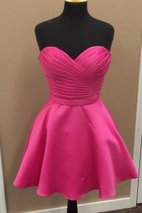 Strapless Sweetheart Ruched A-line Short Homecoming Dress, Cocktail Dress, Party Dress
