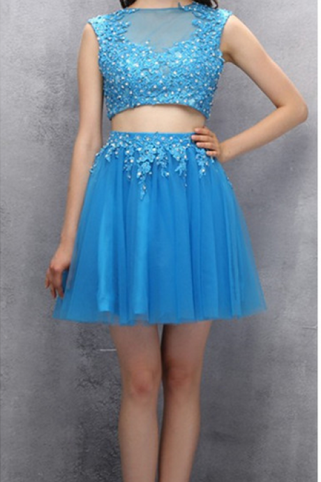 Two-piece Homecoming Dress,Scoop Short Homecoming Gown,Organza Beaded Homecoming Dress with Appliques Sequins