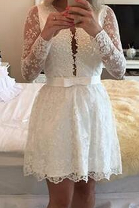 Long sleeve lace homecoming dress, Sexy See through homecoming dress, short homecoming dresses