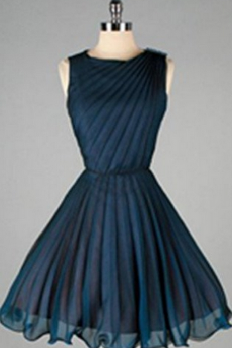 High Quality Simple Navy Blue Short Chiffon Classy Homecoming Dresses