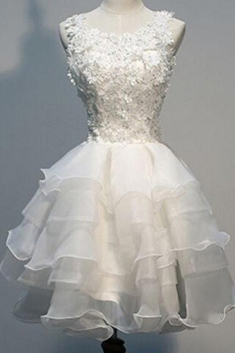 Nice White Lace Short Handmade Tulle Charming Homecoming Dresses