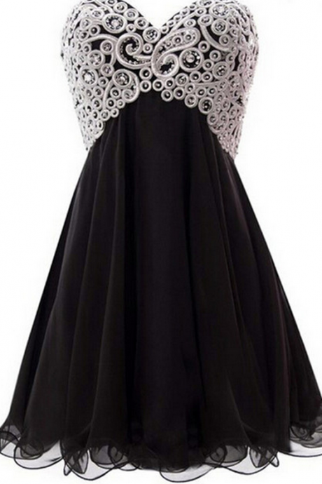 Sexy Beaded Strapless Homecoming Dress,Mini Chiffon Homecoming Dresses,Black Cocktail Dress