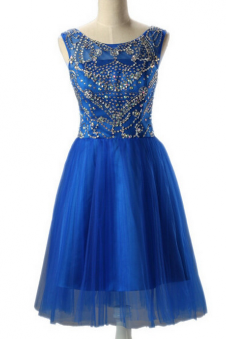 Homecoming Dress,Homecoming Dresses,Beading Prom Gown,Blue Prom Dress