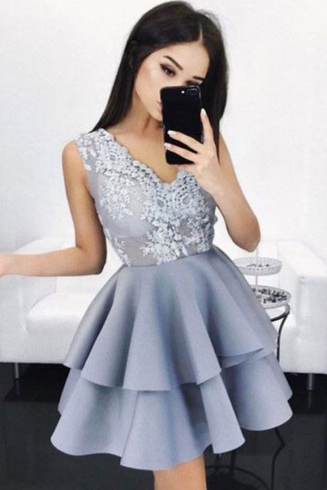 A-line Homecoming Dresses,Blue Homecoming Dresses,Applique Homecoming Dresses,