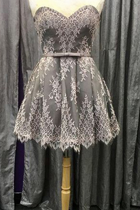 Lace Appliquéd Sweetheart Short A-Line Homecoming Dress Featuring Bow Accent Belt