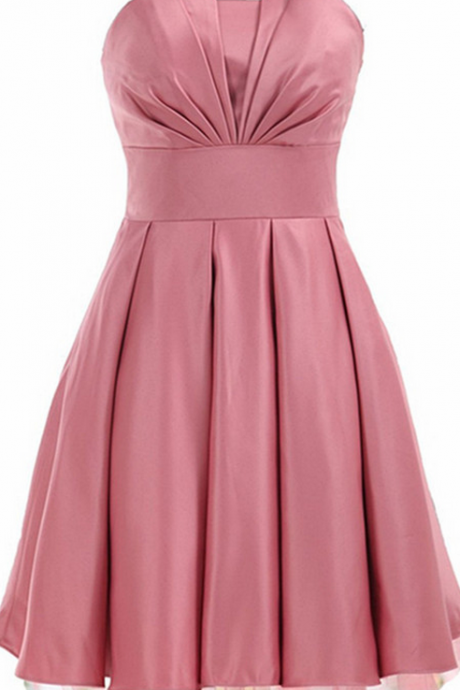 Strapless Ruched Pleated A-line Short Homecoming Dress, Cocktail Dress, Party Dress