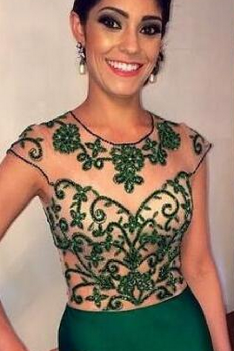 Evening Dress Evening Dresses, Sheer Green Evening Dresses, Women Evening Dresses