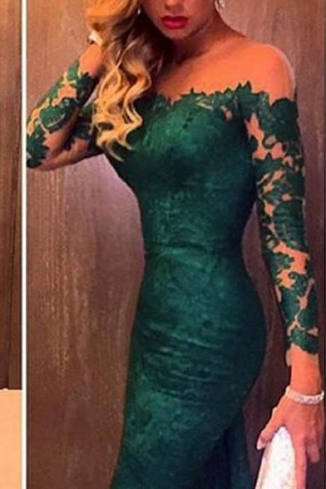 Long Sleeved Evening Dresses,Lace Evening Dresses,Sheer-Neck Evening Dress,Dark Green Evening