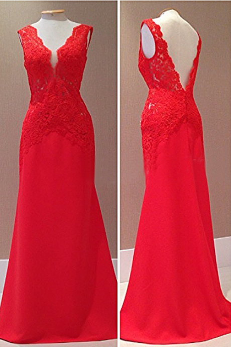 Glamorous Evening Dresses,Red Evening Dresses, V-Neck Evening Dresses,Mermaid Evening Dresses