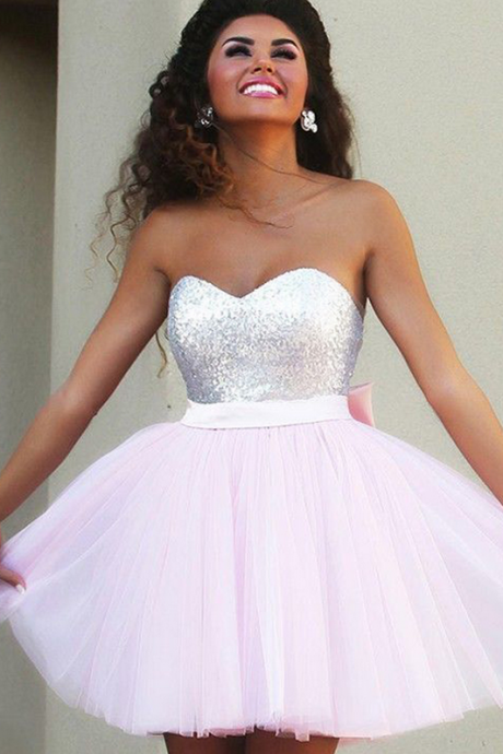 Short Evening Dresses,Sweetheart Tulle Evening Dresses, Sequined Evening Gowns, Red Carpet Dresses