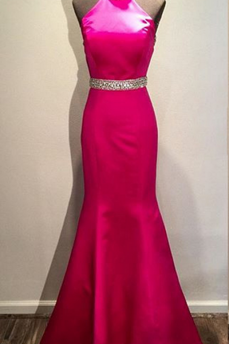 Mermaid Evening Dresses,Backless Evening Dresses,Long Evening Dresses,Fuschia Dress,Sexy Dress,Evening Gowns,Red Carpet Dresses