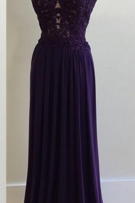 Elegant Appliques Prom Dresses,Sweetheart Prom Dresses,Long Purple Prom Dresses,Chiffon Prom Dresses,Custom Made Evening Dresses