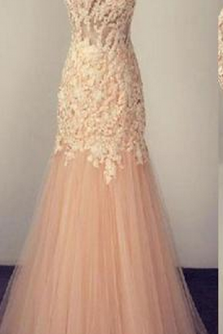 Charming Prom Dress,Tulle Prom Dresses,Appliques Mermaid Evening Dresses,Formal Evening Party Dress,Women Dress