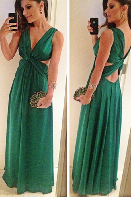 Prom Dresses,Evening Dress,Green Prom Dresses,Chiffon Evening Gowns,Modest Formal Dresses,Backless