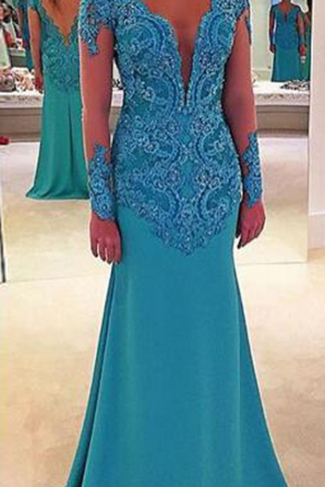 Blue Evening Dresses, Long Sleeve Evening Dresses,Long Tulle Evening Dresses