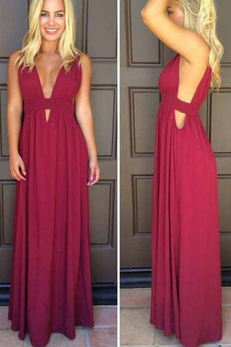 Burgundy Prom Dresses,Wine Red Evening Gowns,Modest Formal Dresses,Burgundy Prom Dresses