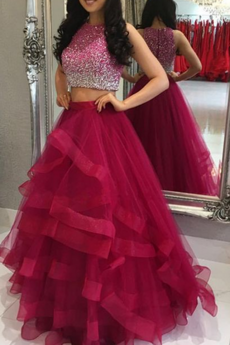 Two Pieces Prom Dresses, Beaded Prom Dresses, Burgundy Prom Dresses, Ruffle Prom Dresses,