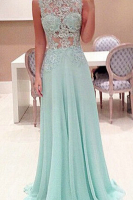 Mint SleevelessProm Dresses,Mint Prom Dress,Evening Dress