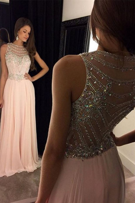 Sparkling Beading Prom Dresses,Pink Long Evening Dress Chiffon Dress