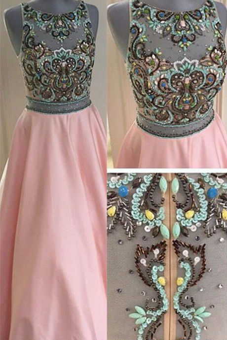 Elegant Prom Dress,Crystal Beaded A Line Evening Dress,Long Evening Dresses,Sleeveless Prom Dresses