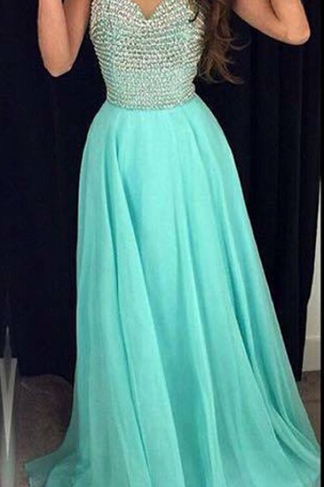 Blue Sheer Halter Beaded A-line Long Prom Dress, Evening Dress