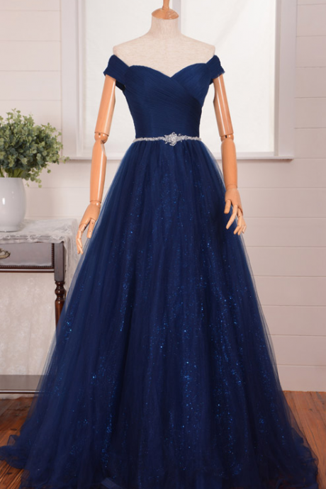 Evening Dress,Long Tulle Evening Dress,Navy Blue Evening Dresses,V Neck Evening Dresses,