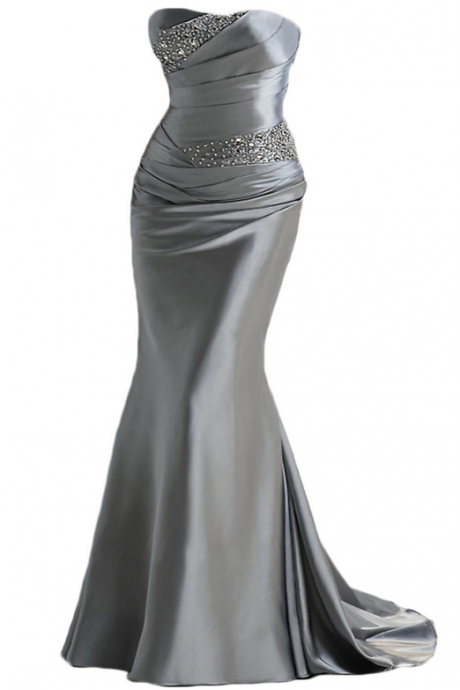silver gray prom dresses,Long satin prom dresses,,mermaid evening dresses ,long prom dresses,dresses party evening,sexy evening