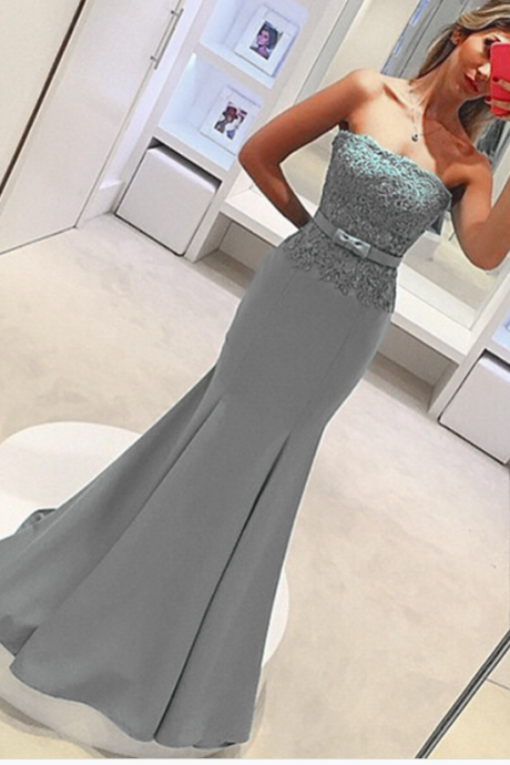 Gray Prom Dresses Strapless Mermaid Satin Evening Dresses Long Elegant Prom Gowns Party Dress