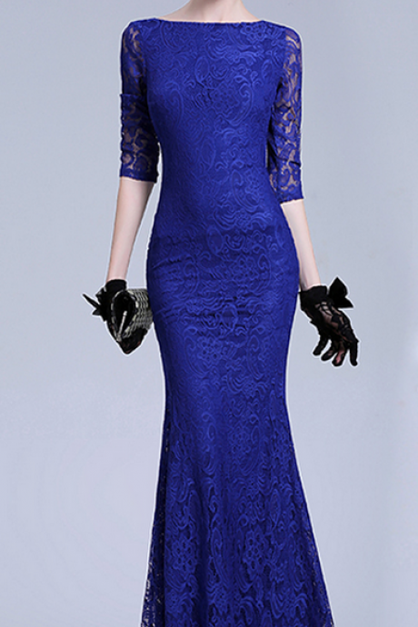 Evening Dress, Mermaid Evening Dress, Long Sleeve Evening Dress