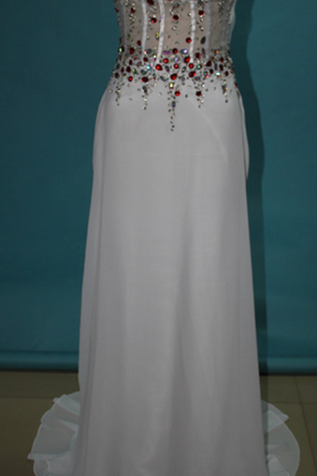 White Long Prom Dresses, Straps Prom Gowns,Beaded Evening Dresses, Backless Evening