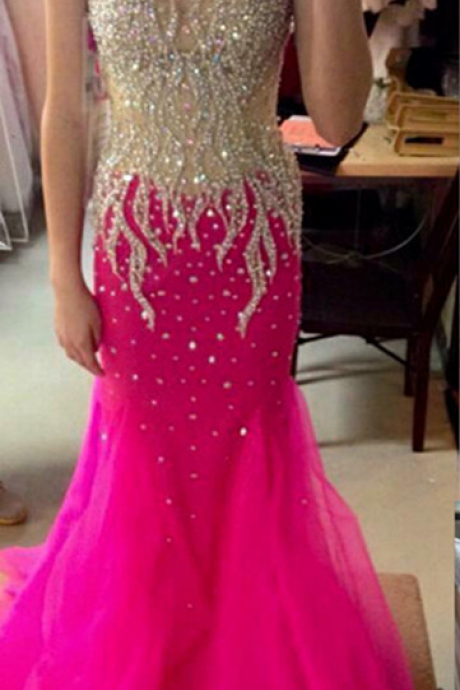Scoop Sleeveless Prom Dresses,Zipper Sweep Train Evening Dresses,Chiffon and Crystal Dress