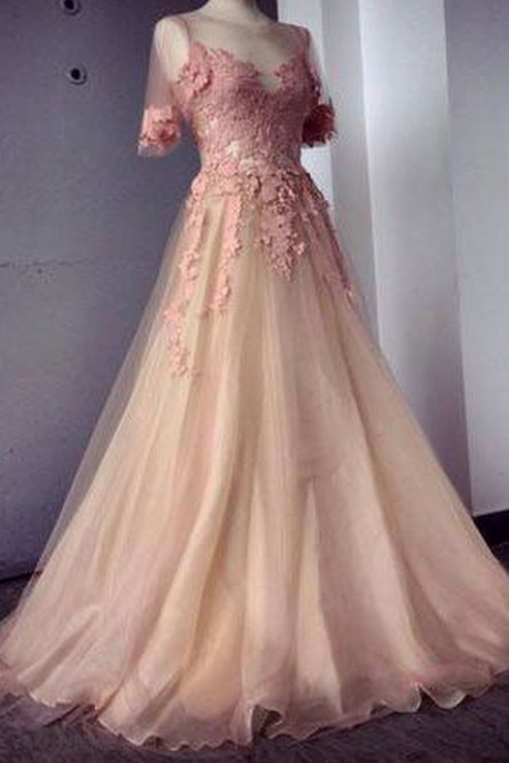 Pink Prom Dresses,Applique Chiffon Prom Dress,Evening Dresses