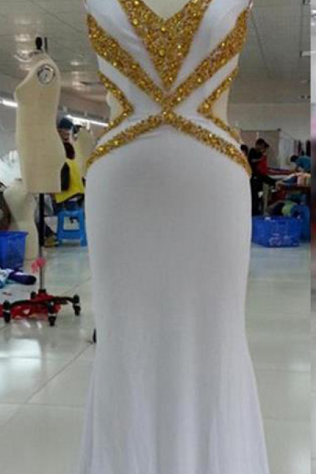Evening Dress,Long Elegant Evening Dress,White Evening Dresses,Mermaid Evening Dresses,