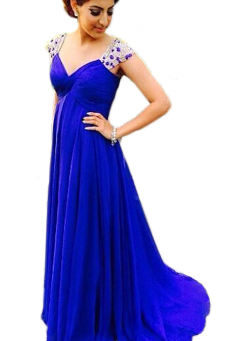 Evening Dress,Long Chiffon Evening Dress,Blue Evening Dresses,Sexy V Neck Evening Dresses