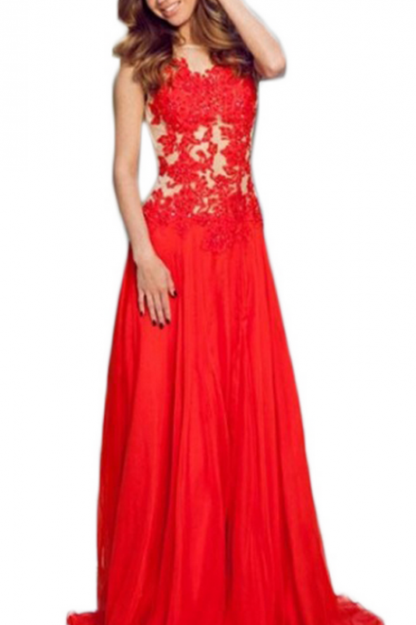 Evening Dress,Long Chiffon Evening Dress,Red Evening Dresses,See Through Evening Dresses,