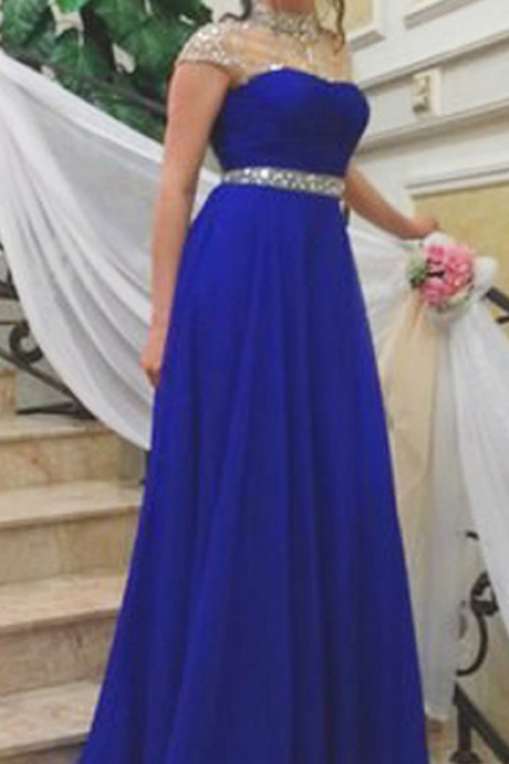 Evening Dress,Long Elegant Evening Dress,Royal Blue Evening Dresses,Evening Dresses