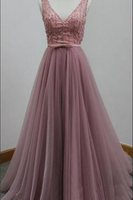 V Neck Evening Dress,A Line Tulle Evening Dresses,Formal Gowns