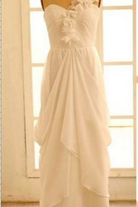 New fashion shoulder tiered chiffon prom dresses