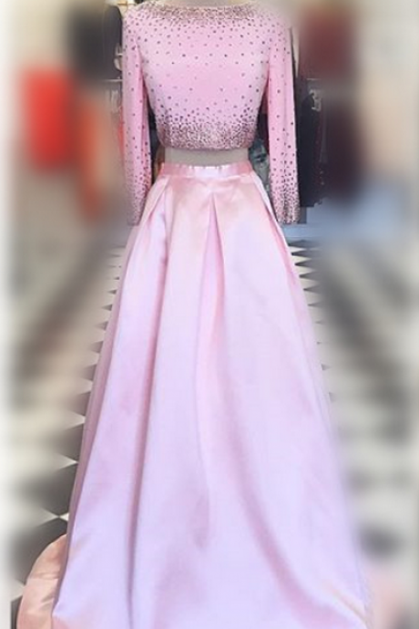 Pink Prom Dresses,Two Pieces Prom Dresses,Beaded Prom Dresses,Backless