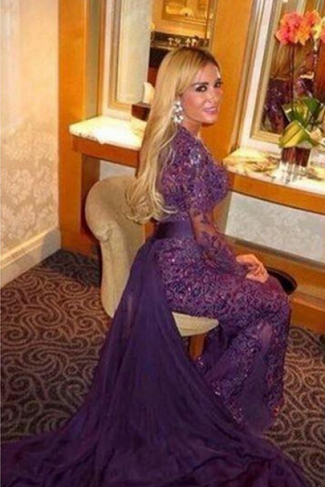 Prom dress Formal dress long sleeve purple lace sheath column evening dress